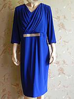 Платье синее за колено с стразами