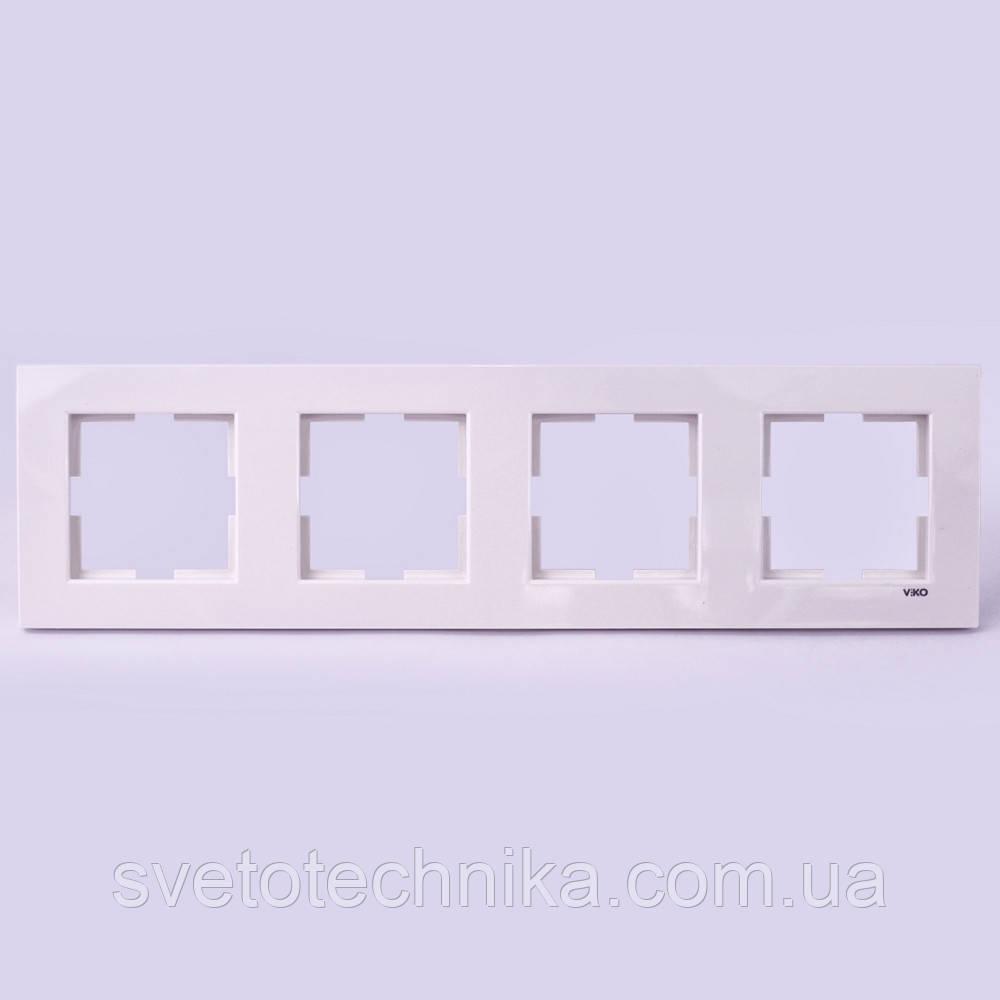 Четверная рамка VI-KO Karre горизонтальная скрытой установки (белая)