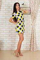 Яркое летнее женское платье прямого кроя в разноцветный ромбик рукав короткий шелк