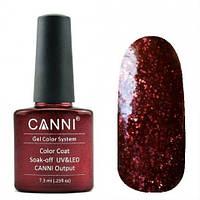 Гель лак Canni 209 вишневый с мелкими красными блестками и микроблеском (эффект 3D)