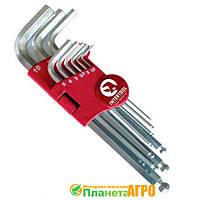 Набор Г-образных шестигранных ключей с шарообразным наконечником, 9 ед.,1,5-10 мм, Cr-V, 55  Intertool HT-0603