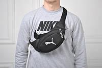Барсетка мужская, сумка через плечо, на пояс, бананка, (черный)