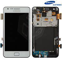 Дисплей + touchscreen (сенсор) для Samsung Galaxy S2 Plus i9105, c передней панелью, белый, оригинал