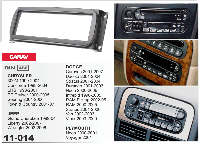 1-DIN переходная рамка CHRYSLER 300M, Concorde, LHS, DODGE, JEEP Grand Cherokee, PLYMOUTH, CARAV 11-014