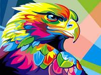 Раскрашивание по цифрам VK039 Радужный орел (30 х 40 см) Турбо