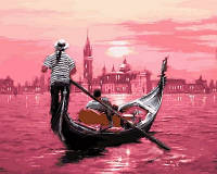 Раскрашивание по цифрам VP554 Розовый закат Венеции (40 х 50 см) Турбо