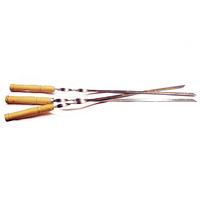 Шампур уголок из пищевой нержавеющей стали, удобная рукоять из натурального дерева, 600х14х1 мм