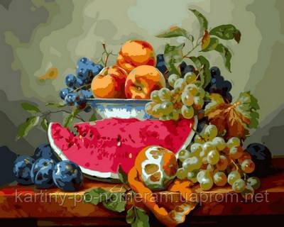 Раскрашивание по цифрам VP597 Натюрморт с арбузом и виноградом Худ Габор Тот (40 х 50 см) Турбо
