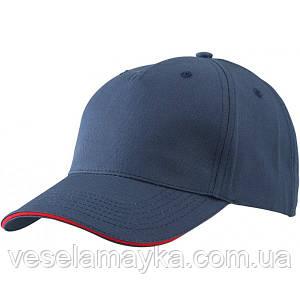 Темно-синяя кепка-сэндвич с красной вставкой
