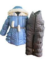 Голубой в горошек зимний костюм 80, 86, 92,  104