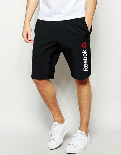 Мужские спортивные шорты Reebok черного цвета с белым логотипом