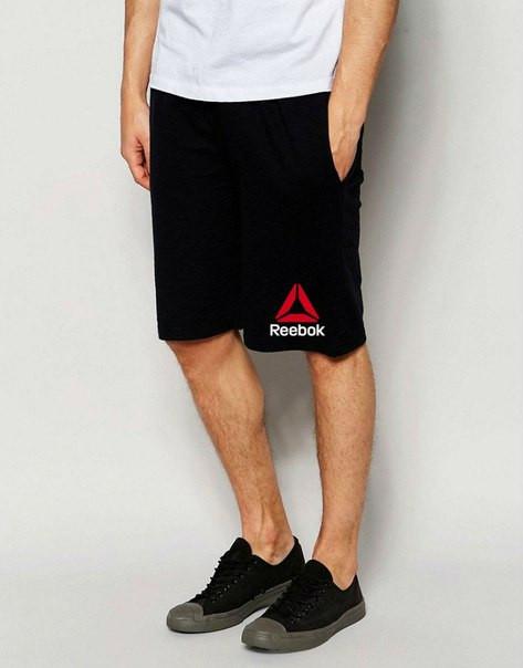 Мужские спортивные шорты Reebok черного цвета с красным логотипом
