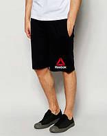 Мужские спортивные шорты Reebok черного цвета с красным логотипом, фото 1