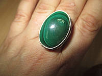 """Овальное кольцо """"Шик"""" с натуральным малахитом, размер 17,9 от студии LadyStyle.Biz"""
