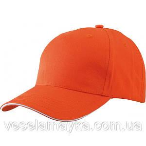 Оранжевая кепка-сэндвич с белой вставкой