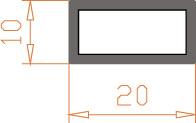 Алюминиевая труба прямоугольная 20*10*1,5 / AS