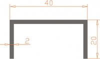 Алюминиевый П-образный профиль (Швеллер) 40*20*2 / AS