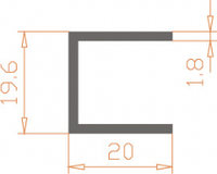 Алюминиевый П-образный профиль (Швеллер) 19,6*20*1,8 / AS