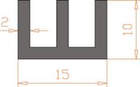 Алюминиевый Ш-образный профиль 15*10*2 / AS