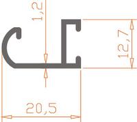 Алюминиевый профиль специальной конфигурации 20,5*12,7*1,2 / AS