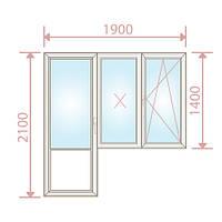Балконный блок Windom /700х2100+1200х1400/4-16-4 - Magazin Okon