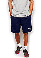 Мужские спортивные шорты Puma синего цвета с белым логотипом