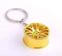 """Дизайнерский брелок, миниатюра - """"Литой диск"""", золотой цвет"""