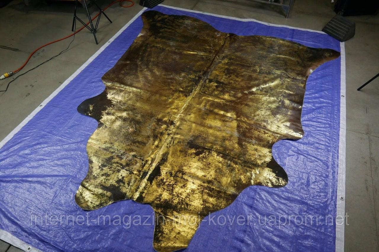 Екзотична коров'яча шкіра чорного кольору з потертостями золотом Харкові