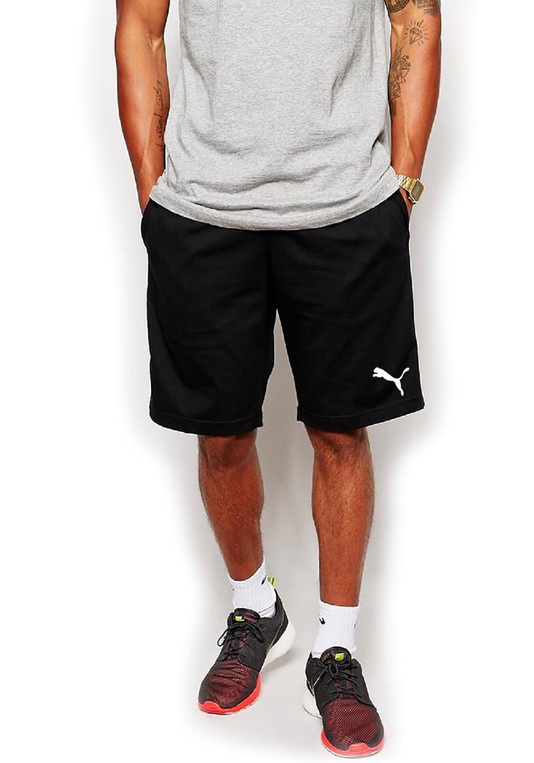 Мужские спортивные шорты Puma черного цвета с белым логотипом