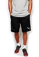 Мужские спортивные шорты Puma черного цвета с белым логотипом, фото 1