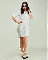 Короткое белое платье из штапеля