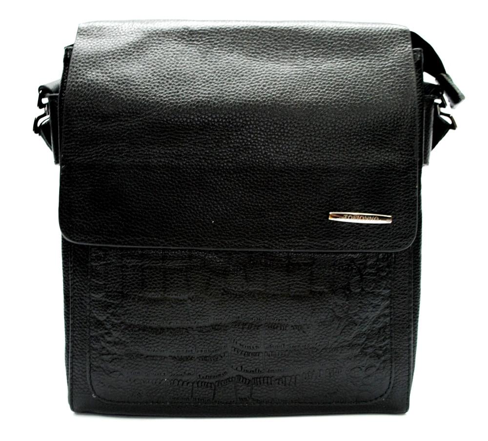 Мужская кожаная сумка под крокодила черная