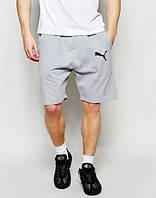 Мужские спортивные шорты Puma серого цвета с белым логотипом