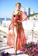Яркая пляжная женская туника свободного фасона под пояс с цветочным принтом шифон