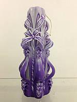 Свеча резная большая SRL-08 (Цвет фиолетовый с белым)