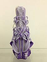 Свеча резная большая SRL-9(Цвет фиолетовый с белым)