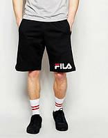 Мужские спортивные шорты Fila черного цвета с белым логотипом, фото 1