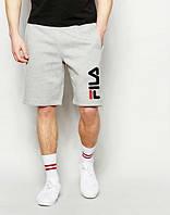 Мужские спортивные шорты Fila серого цвета с черным логотипом
