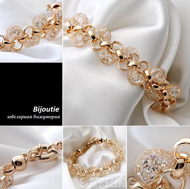 Браслет LUXURY ювелирная бижутерия золото 18К декор кристаллы Swarovski