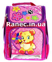 Ортопедический ранец розовый Мишка с цветами  7820-1
