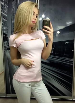 Футболка женская с вырезом на груди ft-255 розовая, фото 2