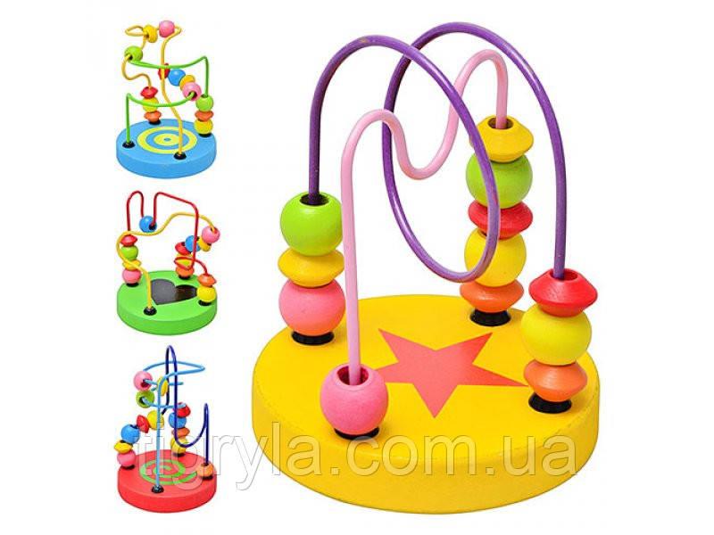 Пальчиковый лабиринт - деревянная логическая игрушка, деревянная серпантинка с бусинками