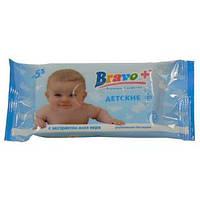 Cалфетки влажные BRAVO 15шт. Детские Алоэ (BRB1)