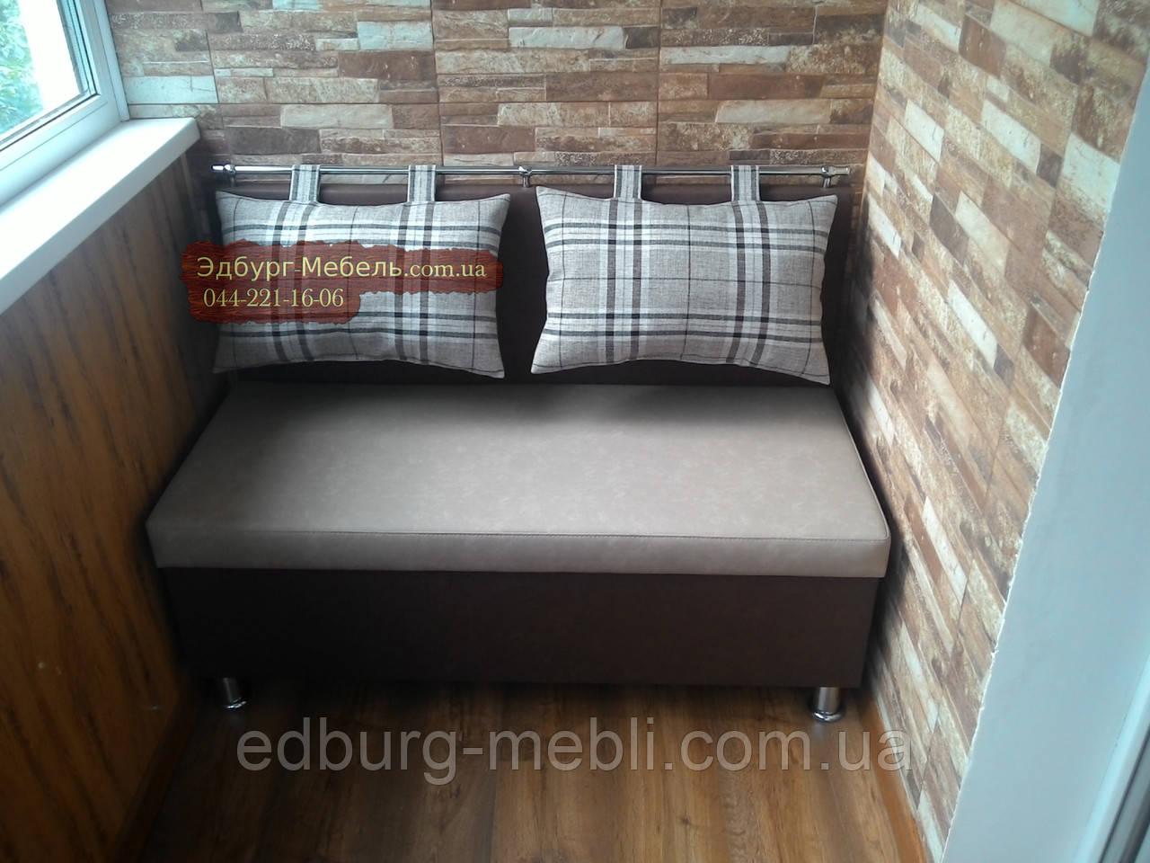 "Диван для кухни, лоджии, балкона ""комфорт"" экокожа + ткань 1."