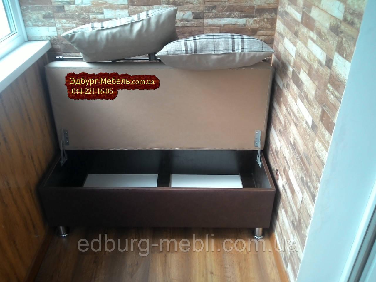 """Диван для кухни, лоджии, балкона """"Комфорт"""" экокожа + ткань 1100х500мм - фото 3"""