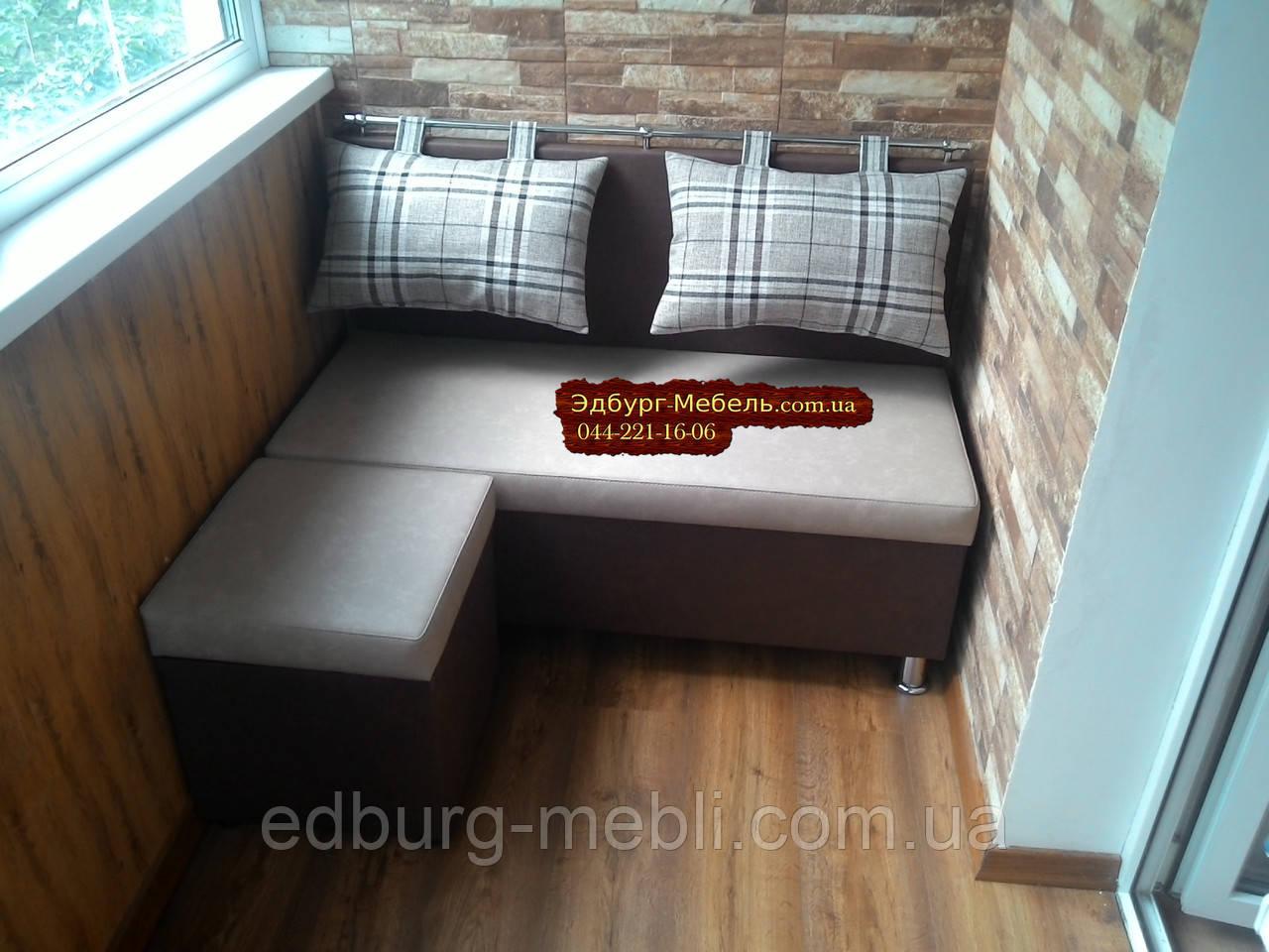"""Диван для кухни, лоджии, балкона """"Комфорт"""" экокожа + ткань 1100х500мм - фото 2"""