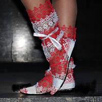 Стильные летние ажурные кружевные женские сапожки-полосатики (белый+красный). Арт-0017, фото 1