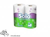 Бумажное полотенце рулонное Соло 2-слойное 2 шт белое