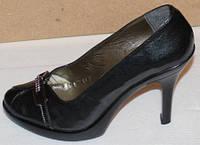 Туфли женские на каблуке черные модель Ж10Т106
