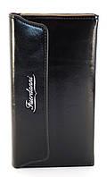 Кожаный черный глянцевый женский кошелек двойного сложения FUERDANNI art. 88H35, фото 1
